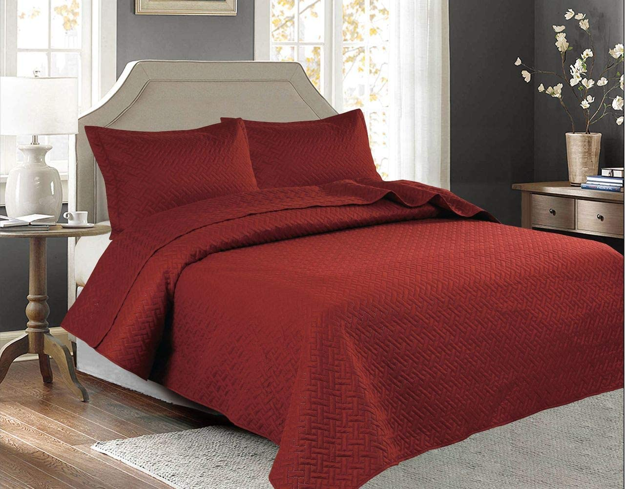 Legacy Decor 3 PCSSquared Stitched Pinsonic Reversible Lightweight All Season Bedspread Quilt Coverlet Oversized, King Size, Brick Color