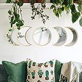 MAXROCK Moon Phase Mirror Set, Scandinavian Natural Moonphase Room Decor Bohemian Moon Mirror Wall Decorations for Living Roo
