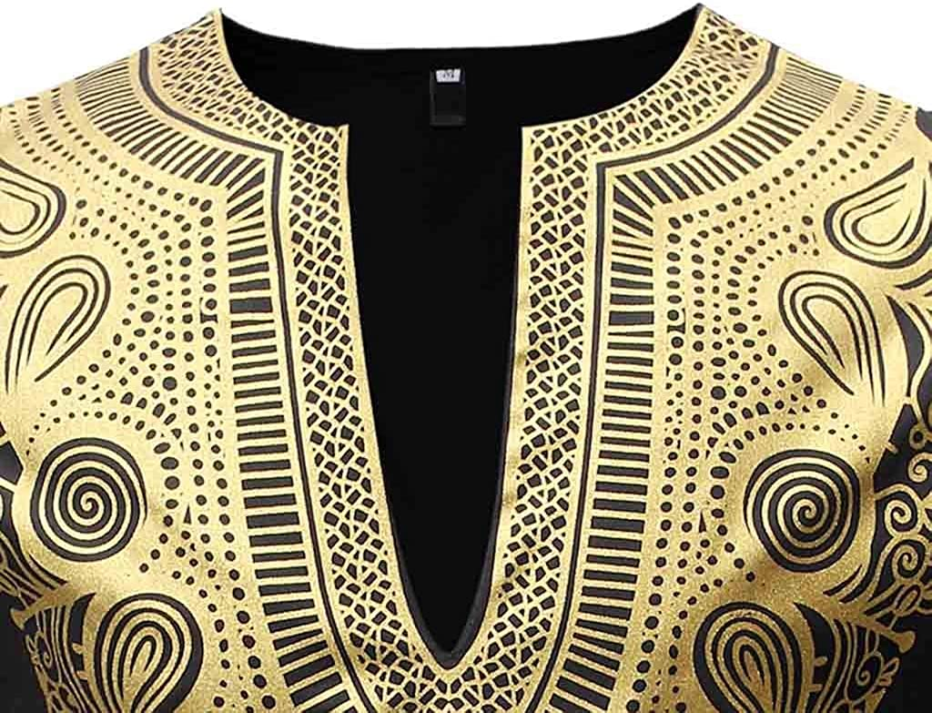 Misaky Mens Dress Shirt Luxury African Print Ethnic Style Long Sleeve Dashiki Shirt Suit Top Blouse