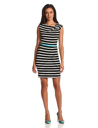 9f3014cf Calvin Klein Women's Short Sleeve Stripe W/Belt at Amazon Women's Clothing  store: Belt Blue