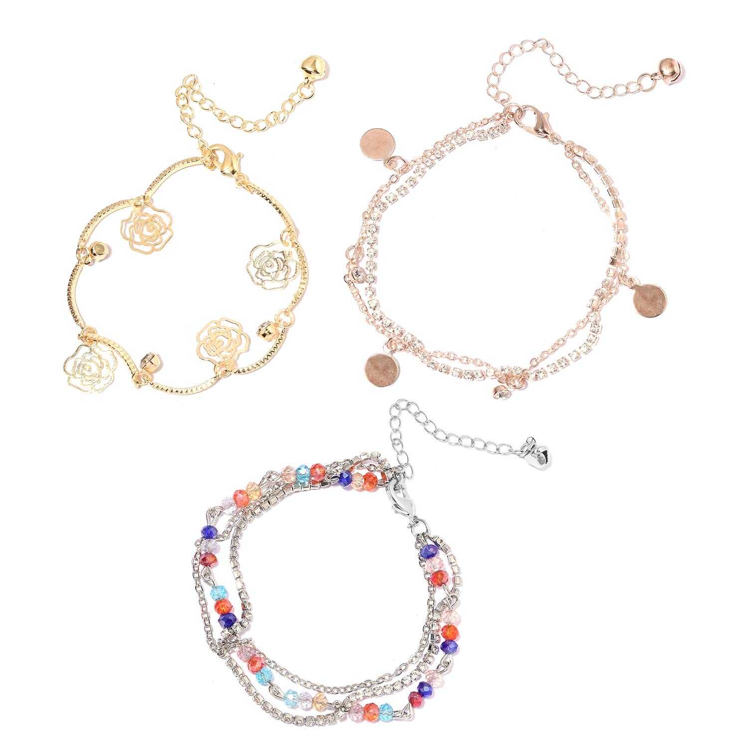 Shop LC 100Ir Natural Iron Beads Multi Color Glass White Crystal Fashion Anklet for Women