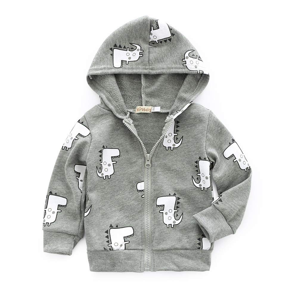 Vovotrade Toddler Boys Girls Hoodie Cartoon Dinosaur Printed Jacket Coat Casual Zipper Tops(Gray,80)