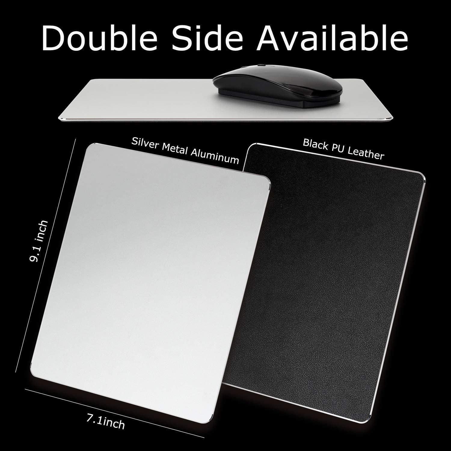 Aluminum PU Mouse Pad Metal Double Side Waterproof Computer Laptop Mat Office