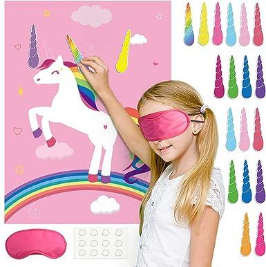 en el cuerno fijo en los juegos unicornio fiesta de cumplea/ños FEPITO juegos de unicornio decoraci/ón del partido del cuerno del unicornio para proporcionar 24 fuentes de los ni/ños unicornio rosa