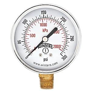 "Winters PEM Series Steel Dual Scale Economical All Purpose Pressure Gauge with Brass Internals, 0-300 psi/kpa, 2-1/2"" Dial Display, +/-3-2-3% Accuracy, 1/4"" NPT Bottom Mount"