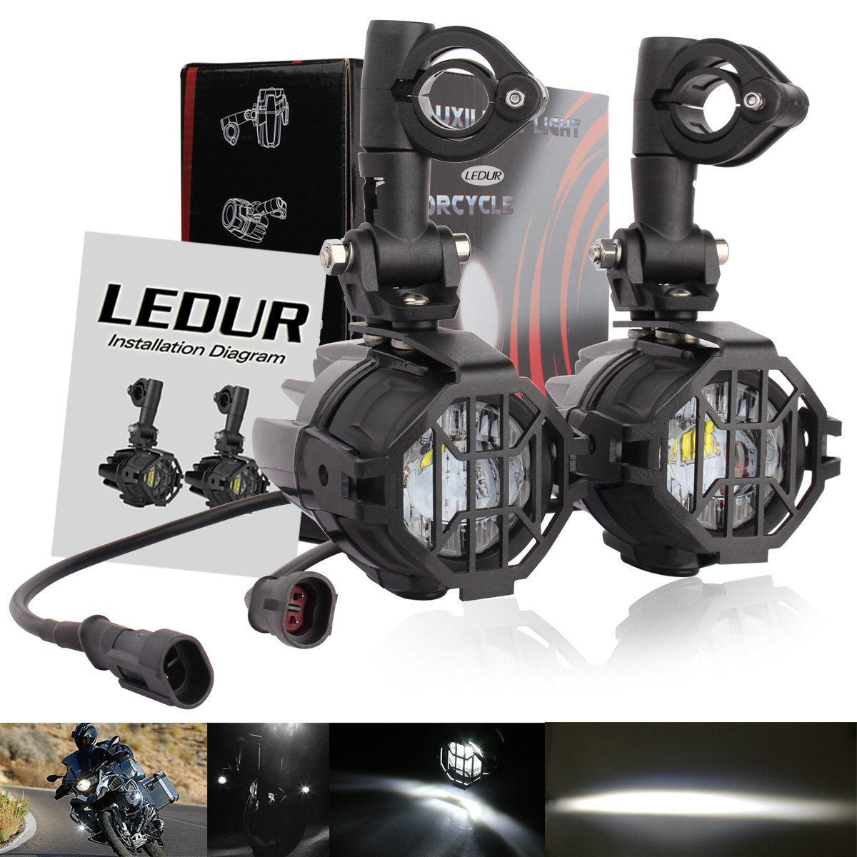 Ledur Auxiliary Lights For Bmw Motorcycle 40w 6000k Spot Cree Headlamps Wiring Diagram Driving Fog Lamps Automotive
