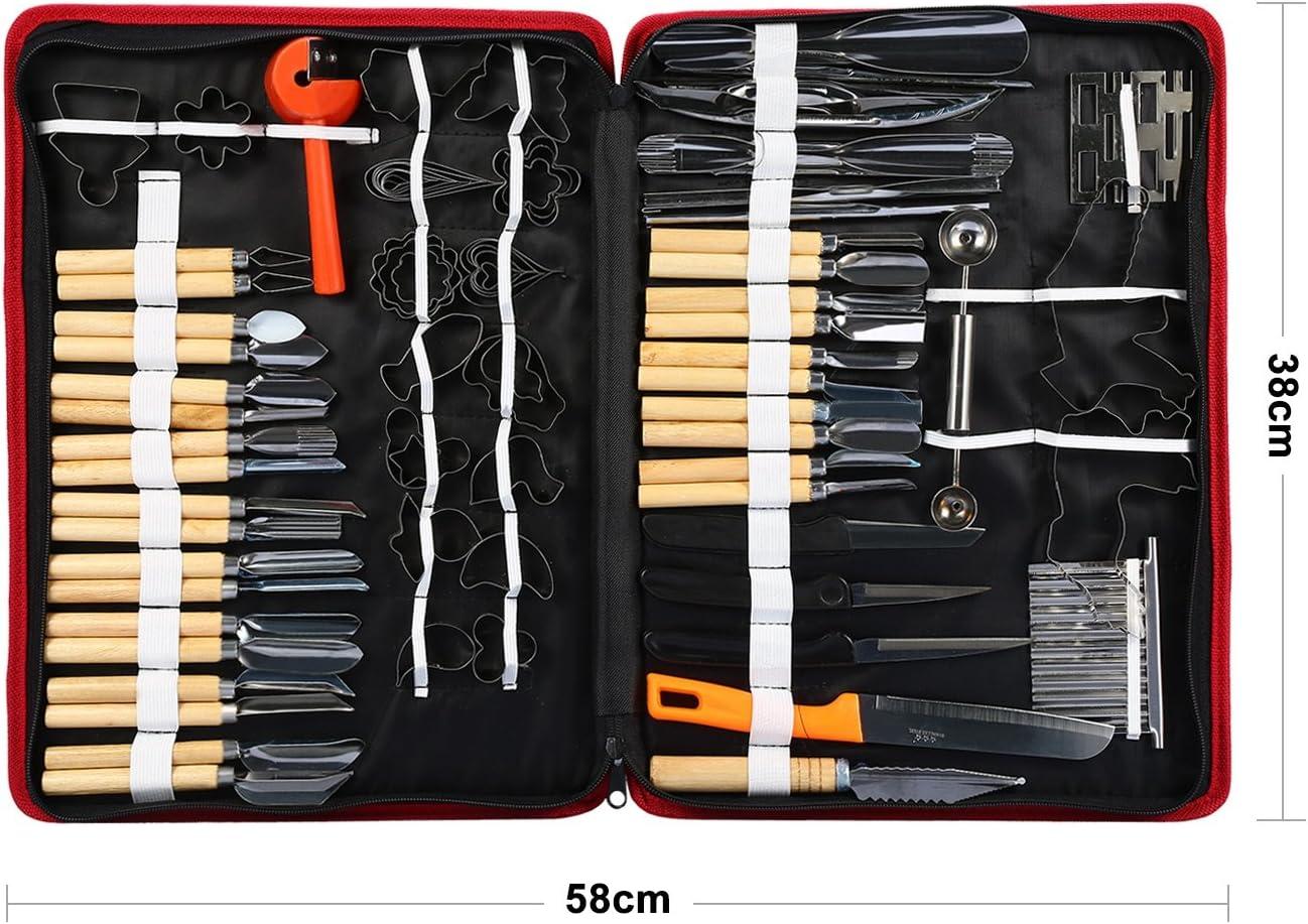 Kulinarische Schnitzwerkzeuge Set 80 Teile//satz Tragbare Kulinarische Schnitzwerkzeuge Peeling Tools Kit Garnieren Schneiden Schneiden Carving Tool Set f/ür Gem/üse Obst Lebensmittel