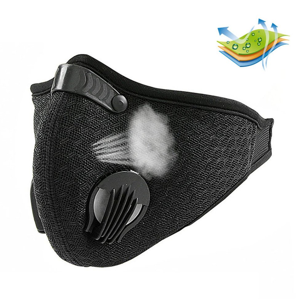 Breathable Dustproof Mask, RONGT Filtration Exhaust Gas PM2.5 Half Face Mask, Anti Pollen Allergy Filter Mesh Cloth Mask for Outdoor Activities Cycling Motorcycle Woodworking Mowing Lawn Running