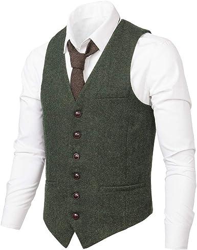 Mens Army Green Slim Fit Tweed Business Waistcoat Wedding Wool Blend Casual Vest