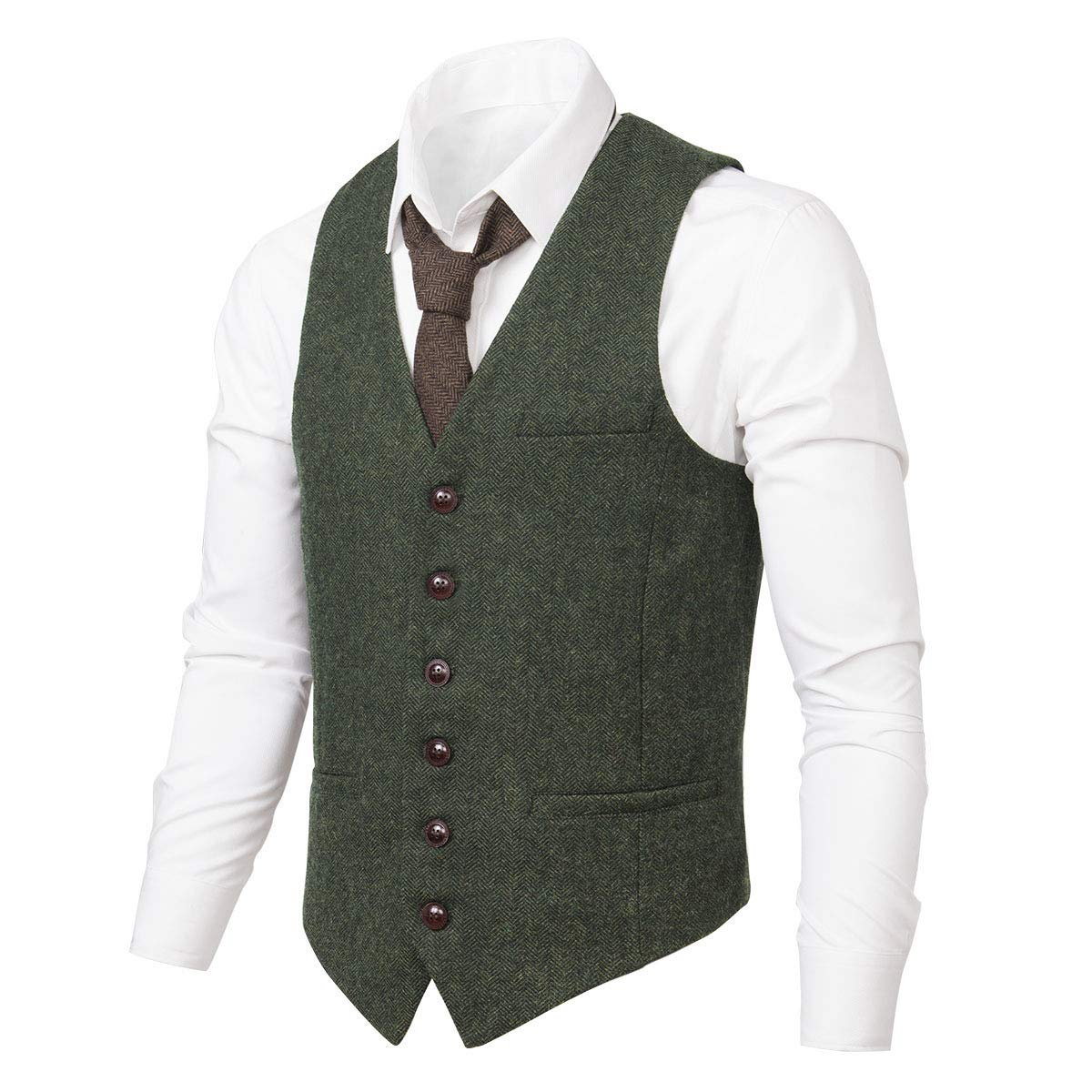 VOBOOM Men's Slim Fit Herringbone Tweed Suits Vest Premium Wool Blend Waistcoat (Army Green, L) by VOBOOM