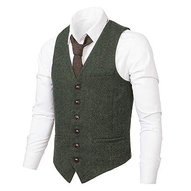 2597268caf9 VOBOOM Men s Slim Fit Herringbone Tweed Suits Vest Premium Wool Blend  Waistcoat (Army Green