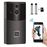 Wireless Video Doorbell, Smart Doorbell, SOOCOO 720P HD Wifi Camera Real-Time Video Two-Way Audio, PIR Motion Detection, Night Vision, Smart Monitor & Alarm APP Control, Security Camera 8G TF Card/2 Batteries