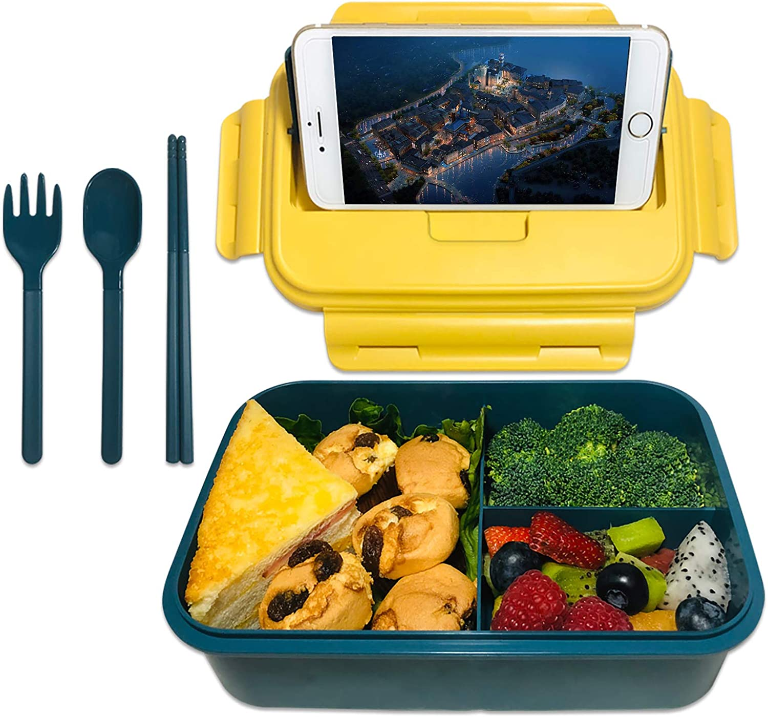 ASYH Bento Box for Kids Adults, 3 Compartments Leak Proof Lunch Box Rectangular Reusable Lunch Dinner Boxes with Fork and Spoon for Outdoors School Office (Blue)