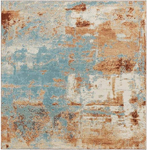Luxe Weavers Kingsbury Collection Abstract 8×10 Aqua Turquoise Modern Area Rug