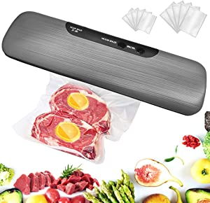 Vacuum Sealer Machine, Automatic Food Sealer with 10 Starter Bags, 60 KPA One-Touch Automatic Vacuum Air Sealing System for Food Savers