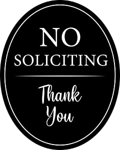 """4"""" x 5"""" Aluminum Oval Classy Sign: Full Adhesive Sticker Back Outdoor or Indoor use - Front Door, Window, House/Home Business/Office - No Soliciting Thank You 
