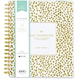 """Day Designer for Blue Sky 2018-2019 Academic Year Daily & Monthly Planner, Flexible Cover, Twin-Wire Binding, 8"""" x 10"""", Gold Spotty Design"""