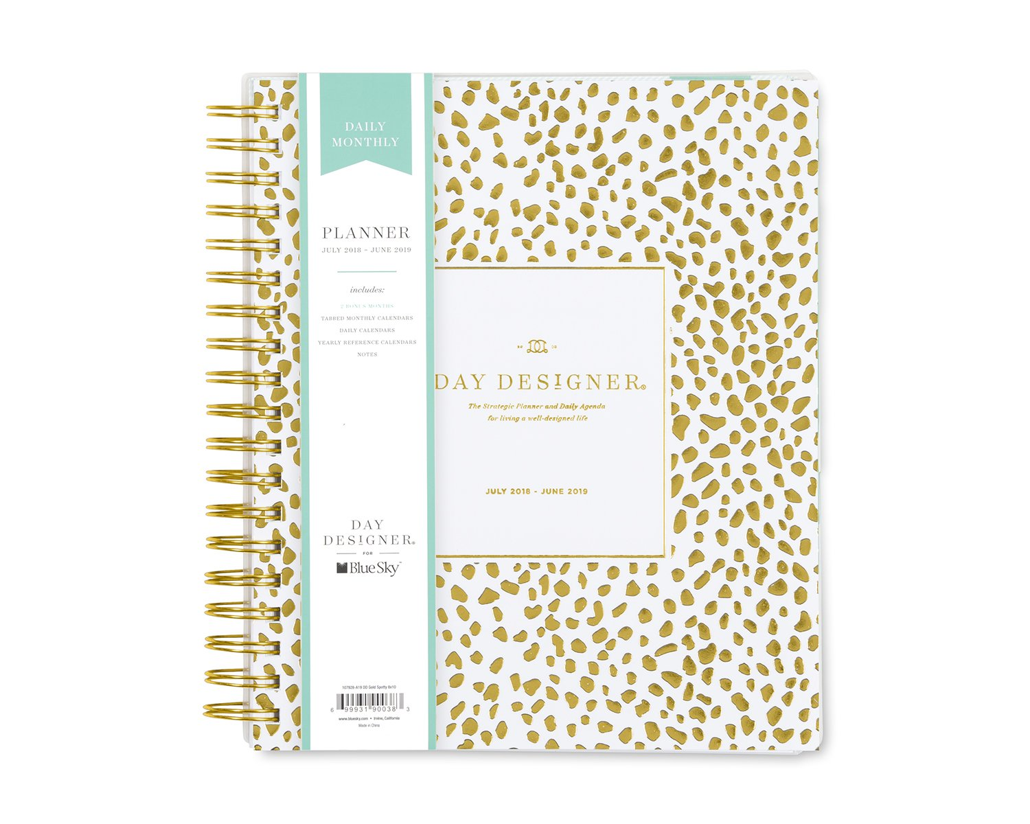 Day Designer for Blue Sky 2018-2019 Academic Year Daily & Monthly Planner, Flexible Cover, Twin-Wire Binding, 8'' x 10'', Gold Spotty Design