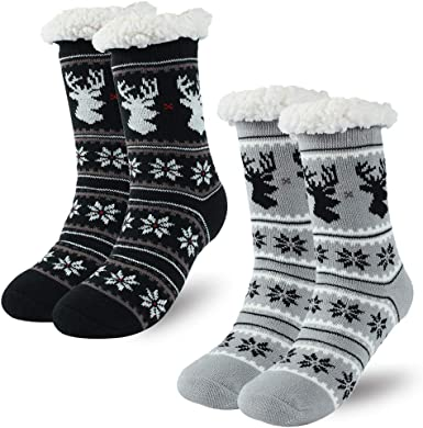 Details about  /2 Pairs Women/'s Winter Fleece Lined Thermal Fuzzy Christmas Slipper Socks