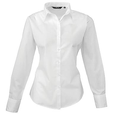 19a214073aa787 Premier Womens/Ladies Poplin Long Sleeve Blouse / Plain Work Shirt (10) ( White): Amazon.co.uk: Clothing