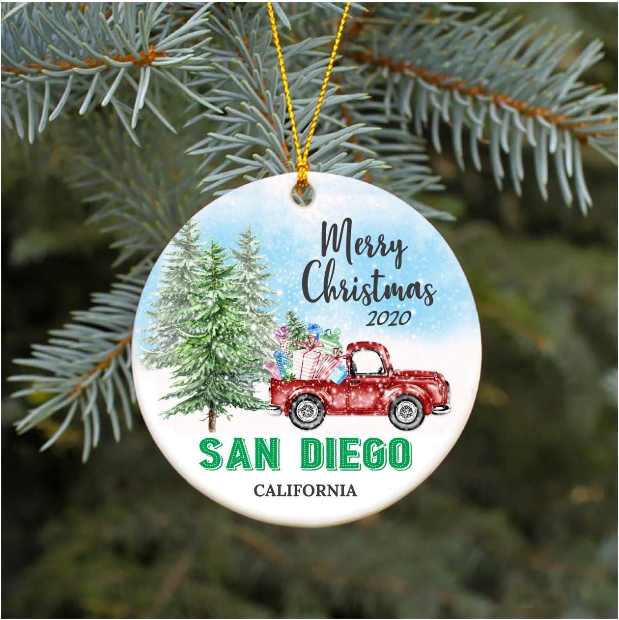 Custom Christmas,Decorations Custom Unique San Diego Ornament Personalized First Anniversary,Cityscape Christmas Couple Beach Decor