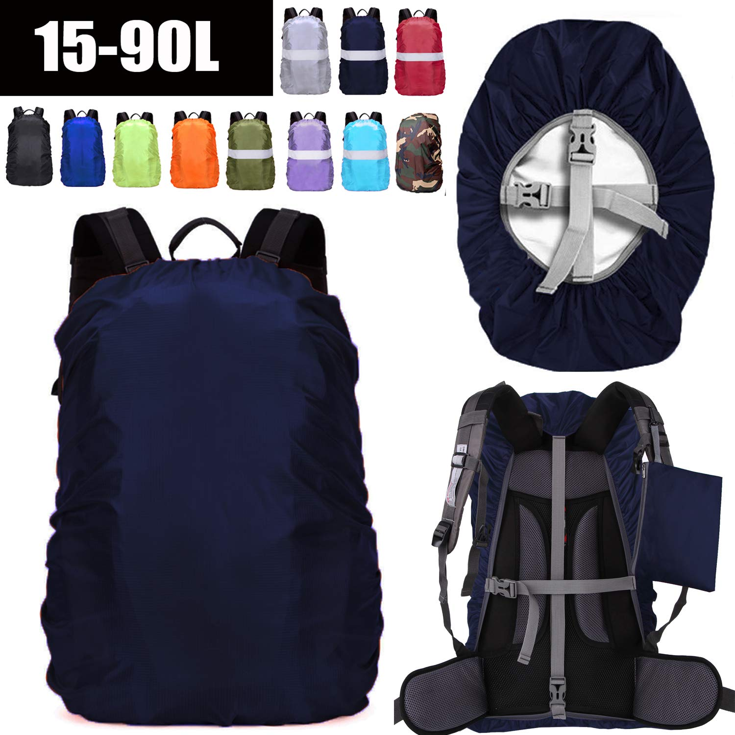 ZM-SPORTS 15-90L Upgraded Waterproof Backpack Rain Cover,with Vertical Adjustable Fixed Strap Avoid to Falling,Gift with Portable Storage Pack (Midnight Blue, 2XL(for 65-75L Backpack) by ZM-SPORTS
