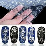 tia-ve 108PCS 3D Flower nail art adesivi unghie decalcomanie (argento)