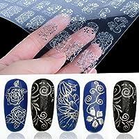 BeautyLifeⓇ 108pcs 3D uñas de flores arte pegatinas uñas consejos etiquetas (Plata)