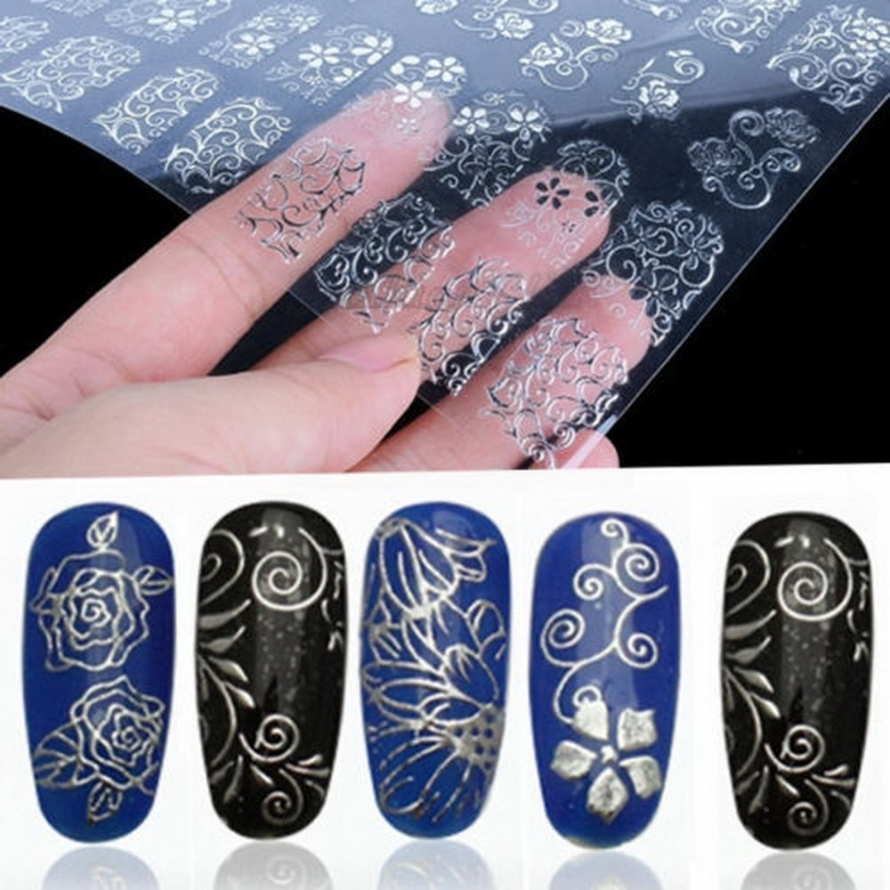 Amazon.com: Warm Girl 108Pcs 3D Silver Flower Nail Art Stickers ...