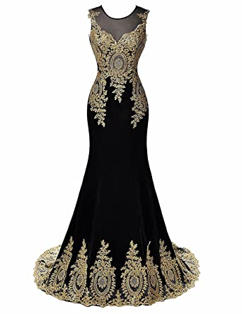 Womens Embroidered Long Mermaid Formal Evening Dress Gold Lace Prom Gown US2