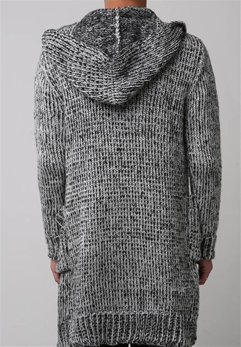 Domple Mens Casual Pockets Knitted Open Front Long Sweater Cardigan