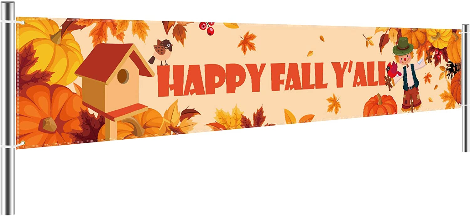Tatuo Large Happy Fall Yall Banner, Fall Decorations, Happy Fall Banner Thanksgiving Decor, Fall Maple Leaves Pumpkin Banner Autumn Decor for Home Door Birthday Party Yard Outdoor (8.2 x 1.5 Feet)