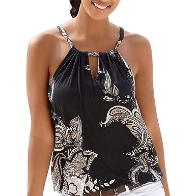 e3c153ff5ef5e Womens Floral Print Tank Tops Halter Summer Strappy Boho Vest Casual  Sleeveless Shirt Blouse (S