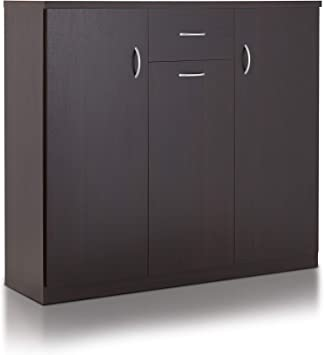 Amazon Com Iohomes Darrion Modern 10 Shelf Shoe Cabinet With Center Drawer Espresso Furniture Decor