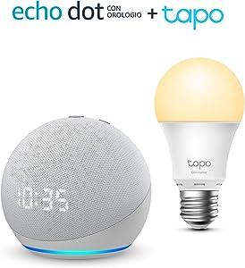 Echo Dot (4ª generazione) con orologio, Bianco ghiaccio + TP-Link Tapo White Lampadina Connessa (E27), compatibile con Alexa