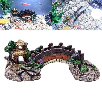 Jiamins Puente en Arco Decoration Acuario Décor de Acuario Fish Tank ...