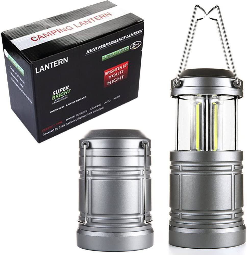 2 Pack Collapsible Camping Lantern with Magnetic Base Ultra Bright COB LED Lanterns for Hurricanes,Camping Hiking Power Outage