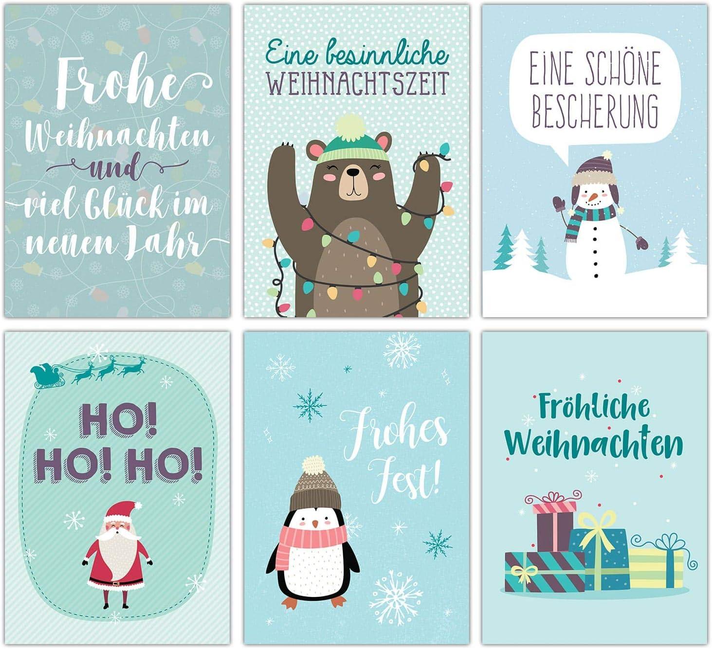 Karten Set 2 Blau 12 Postkarten f/ür Weihnachten Weihnachtskarten Set Kunstdruck zum Verschicken und Sammeln