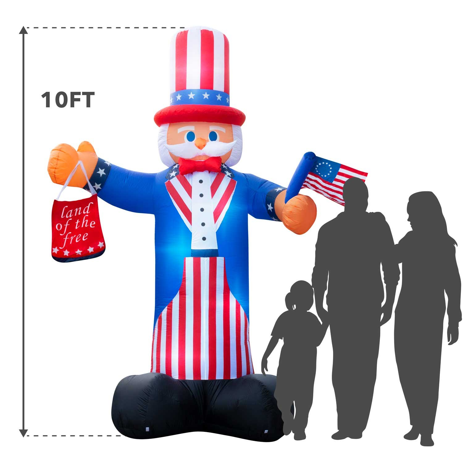 Giant 10 Ft. Tall Holidayana 4th Of July Inflatable Uncle Sam Inflatable Featuring Lighted Interior/Airblown Inflatable 4th of July Decoration With Built In Fan And Anchor Ropes