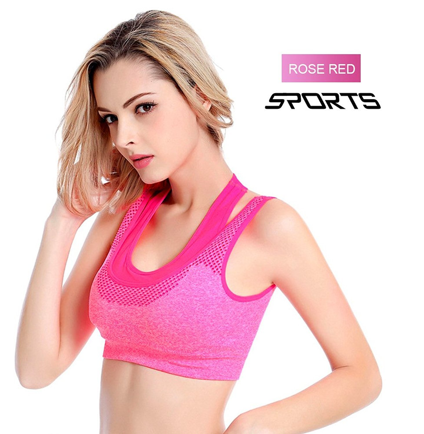 666bb44e0e Amilia Women s Padded Sports Bra High Impact Support Workout Bra  Amazon.in   Sports