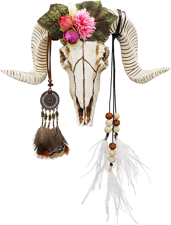 Animal skull head decor - 3D DIY Flower sheep head Wall Hanging - Boho Chic Decor Faux Taxidermy Ram Sheep head wall mount w/ Dreamcatcher Feather for Bedroom Living Room 21pcs