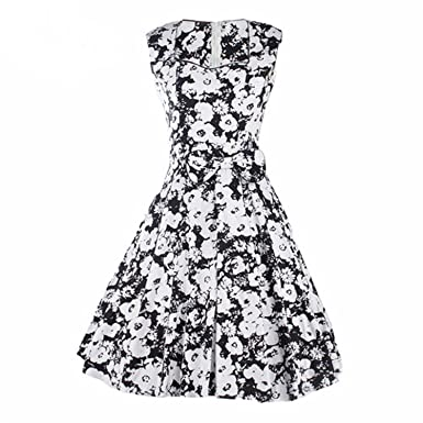 better-caress 50s Vintage Dresses Summer Dress Clothing Audrey Floral Robe Retro Swing Casual Vestidos at Amazon Womens Clothing store: