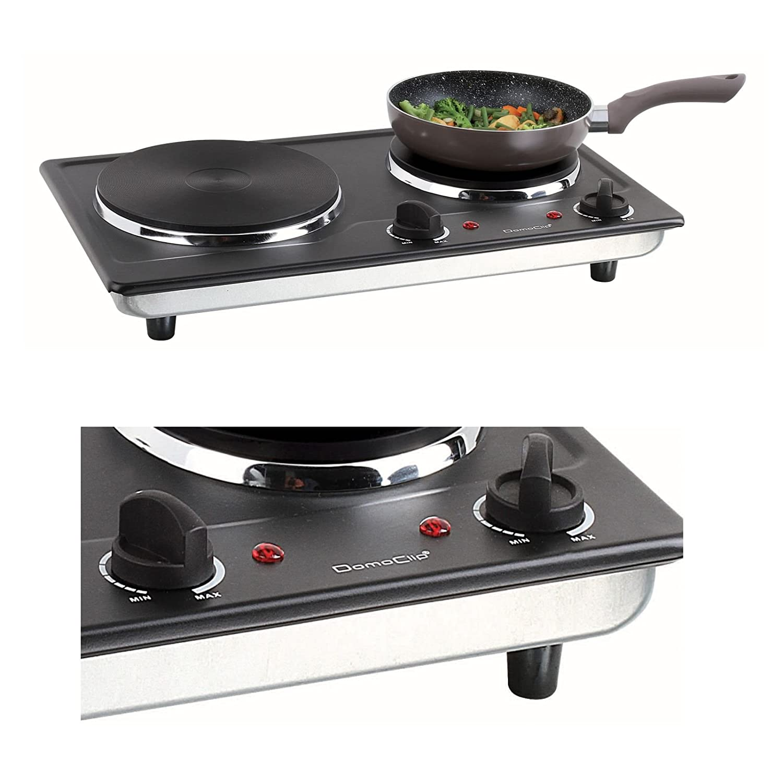 2/placas de camping hervidor camping de horno 5/niveles el/éctrica kookplaten, 2500/W, m/óvil Horno, 2/termostatos, Negro Doble placa de cocina
