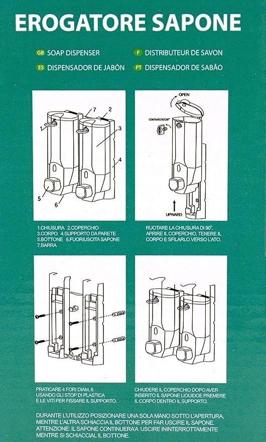 Dispensador de pared para jabón líquido 400 ml, dispensador jabón manual, recipiente elegante para docciaschiuma Shampoo gris: Amazon.es: Hogar