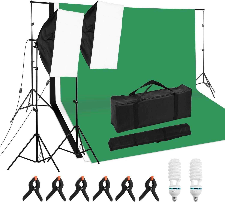 Andoer Professional Studio Photography Beleuchtungsset Inklusive 50 70cm Softboxen 2 125w 5500k Glühbirnen 2 2m Lichtstativ