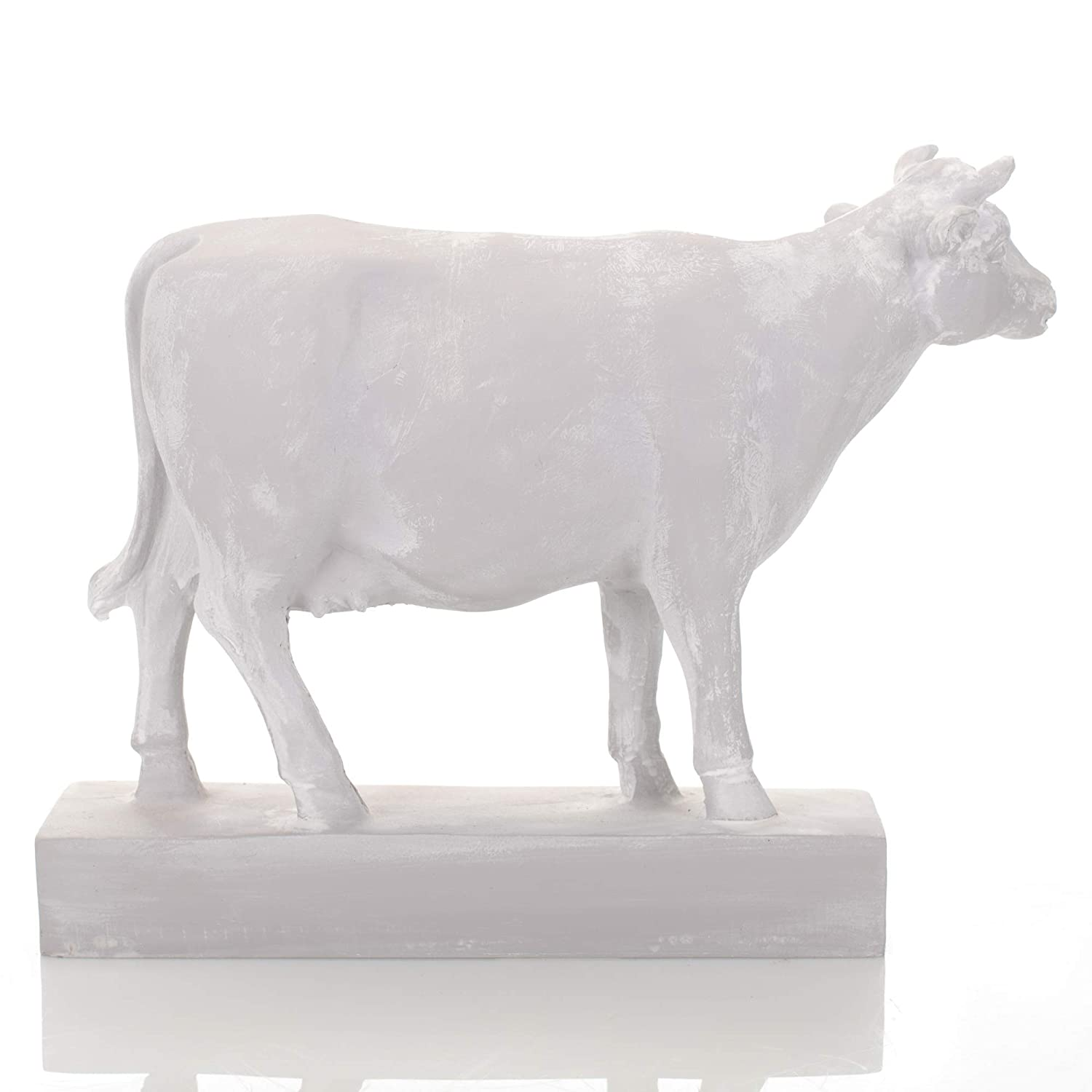 Drew Derose Classic White Cow Farm 7 x 5 Resin Stone Collectible Figurine