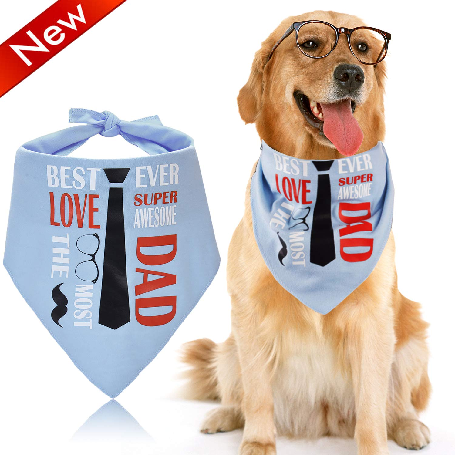 Legendog Dog Bandana Personalised Dog Bandana 'I LOVE DAD' Theme Pet Bandana Creative Scarf Pet Bib for Medium Large Cat Dog