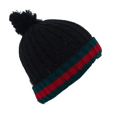 Stripe Pattern Knitted Pom Pom Ski Hat Black Amazon Clothing