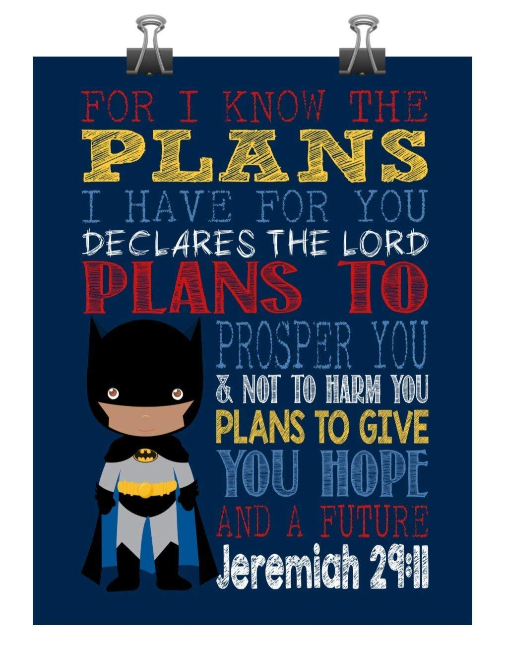 For I Know The Plans I Have For You Jeremiah 29:11 African American Minnie Mouse Girl Inspirational Nursery Decor Wall Art Print