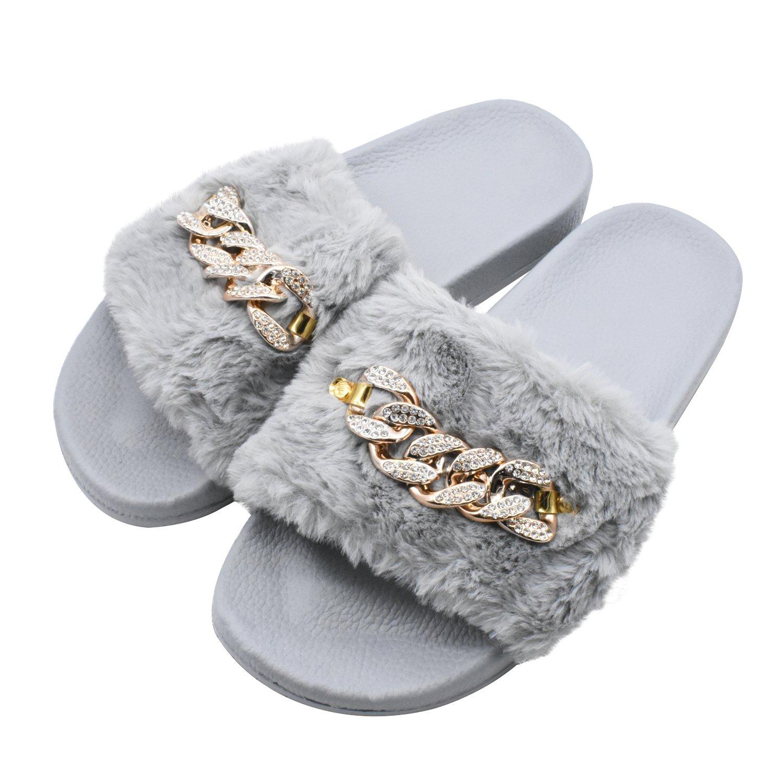 COFACE Damen Hausschuh Weiche Flache Sandalen Flauschige mit Suuml;szlig;er Pluuml;sch Pantoffel Outdoor/Indoor in 5 Farben  39 EU|Diamant Grau